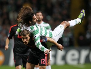 FOOTBALL : Celtic Glasgow vs Ajax Amsterdam - Ligue des Champions - 22/10/2013 - Veltman et Samaras